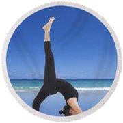 Woman Doing Yoga On The Beach Round Beach Towel