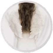 Woman With Angel Wings Round Beach Towel