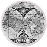 World Map, 16th Century Round Beach Towel
