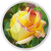 Yellow Rose Round Beach Towel by Anne Mott
