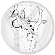 Round Beach Towel featuring the drawing Zulu Dance - South Africa by Gloria Ssali