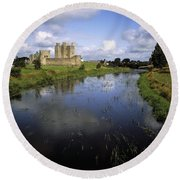 12th Century Trim Castle, On The River Round Beach Towel