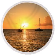 Round Beach Towel featuring the photograph Sunset by Catie Canetti