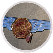 Round Beach Towel featuring the photograph 1937 Chrysler Airflow Emblem by Gordon Dean II