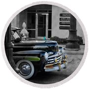 1940s Ford Out Of The Past Round Beach Towel by Robin Lewis