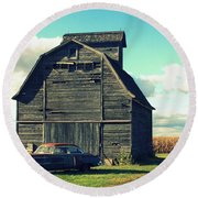 1950 Cadillac Barn Cornfield Round Beach Towel by Lyle Hatch