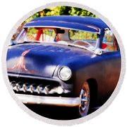 Round Beach Towel featuring the photograph 1950 Ford  Vintage by Peggy Franz