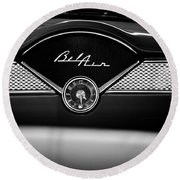 1955 Chevy Bel Air Glow Compartment In Black And White Round Beach Towel