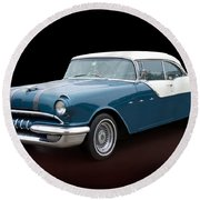 1955 Classic Pontiac Star Chief  Round Beach Towel by Betty LaRue