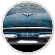 1955 Pontiac Star Chief Front Round Beach Towel by Betty LaRue