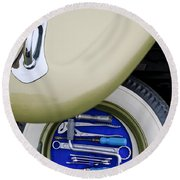 Round Beach Towel featuring the photograph 1956 Volkswagen Vw Bug Tool Kit by Jill Reger