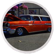 Round Beach Towel featuring the photograph 1957 Belair Wagon by Tikvah's Hope