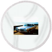 1971 Chevrolet Impala Convertible Round Beach Towel by Sadie Reneau