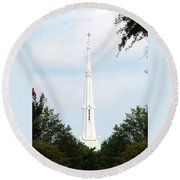 Round Beach Towel featuring the photograph 1st Christian Steeple by Kay Lovingood