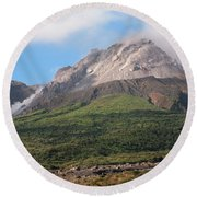 Ash And Gas Rising From Lava Dome Round Beach Towel