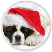 Christmas Puppy Round Beach Towel
