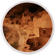 Cliff Palace Mesa Verde National Park Round Beach Towel