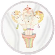 Flower Pot Ladies Round Beach Towel
