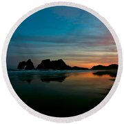 Golden Morning At A Beach  Round Beach Towel