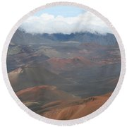 Haleakala Volcano Maui Hawaii Round Beach Towel by Sharon Mau