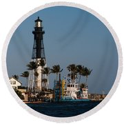 Hillsboro Inlet Lighthouse Round Beach Towel