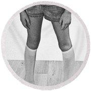 Legs Of A Girl Round Beach Towel