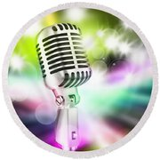 Microphone On Stage Round Beach Towel