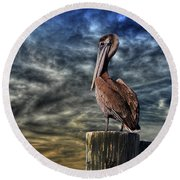 Round Beach Towel featuring the photograph Pelican At Sunset by Dan Friend