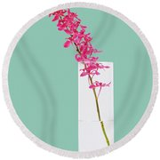 Red Orchid Bunch Round Beach Towel by Atiketta Sangasaeng