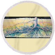 Rooted In Time Round Beach Towel by Carolyn Rosenberger
