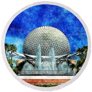Round Beach Towel featuring the digital art Spaceship Earth And Fountain Of Nations by Sandy MacGowan