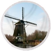 Windmill In Amsterdam Round Beach Towel by Carol Ailles
