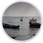 Boats Moored Off Of Leigh Essex Round Beach Towel