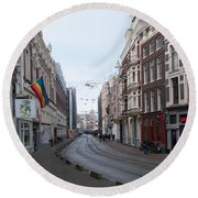 City Scenes From Amsterdam Round Beach Towel by Carol Ailles