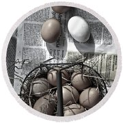 Eggs Round Beach Towel by Joana Kruse