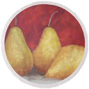 3 Golden Pears On Red Round Beach Towel