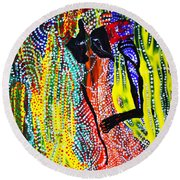 Round Beach Towel featuring the painting Jesus And Mary by Gloria Ssali