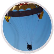 Round Beach Towel featuring the photograph 3 People Para-sailing Pachmarhi by Ashish Agarwal