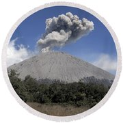 Semeru Eruption, Java Island, Indonesia Round Beach Towel