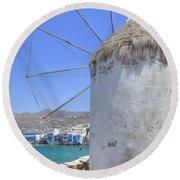 Mykonos Round Beach Towel