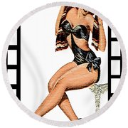 50s Oh Yeah Round Beach Towel by Tbone Oliver