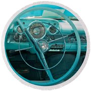 57 Chevy Bel Air Interior 2 Round Beach Towel