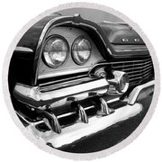 58 Plymouth Fury Black And White Round Beach Towel