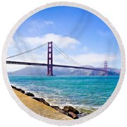 75 Years - Golden Gate - San Francisco Round Beach Towel