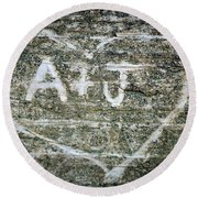 A And J Round Beach Towel by Julia Wilcox