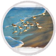 A Bevy Of Pipers Round Beach Towel