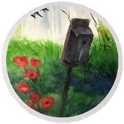 Round Beach Towel featuring the painting A Bird House In The Geddes Farm --ann Arbor Michigan by Yoshiko Mishina