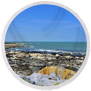 A Blue Skerries Sky Round Beach Towel