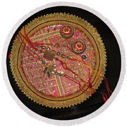 Round Beach Towel featuring the photograph A Bowl Of Rakhis In A Decorated Dish by Ashish Agarwal