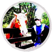 Round Beach Towel featuring the photograph a Boy and his Horse by George Pedro